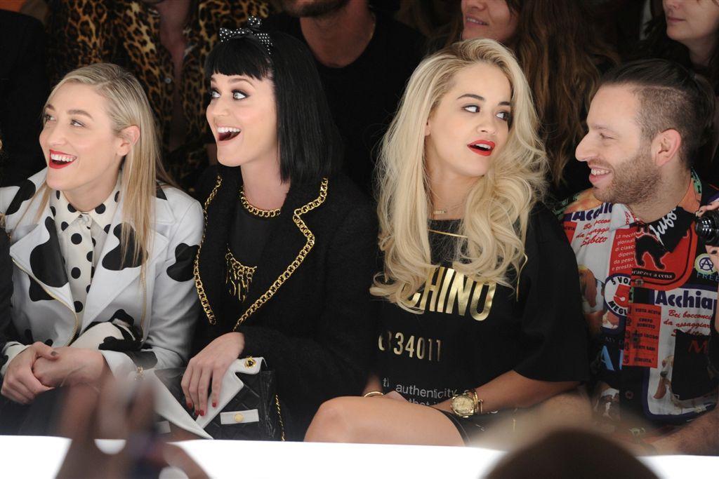 Mia Moretti, Katy Perry, Rita Ora, Saul Milton at Moschino Fashion Show