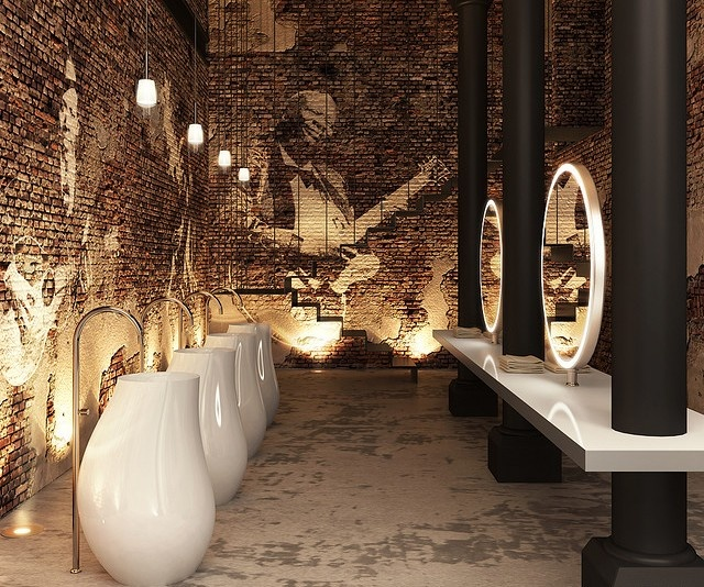 Modern-industrial-restaurant-restroom-with-ultra-contemporary-faucets-and-mirros