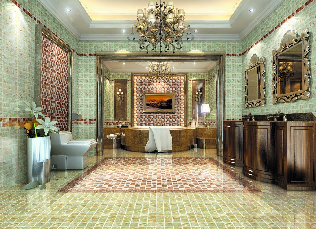 Luxury-Bathroom-Design-With-Modern-Wooden-Vanity-Sink-And-Floral-Carved-Mirrors-Frame-And-Chic-Green-Tiled-Wall-And-Yellow-Floor-Tile-And-Deluxe-Bathtub-3