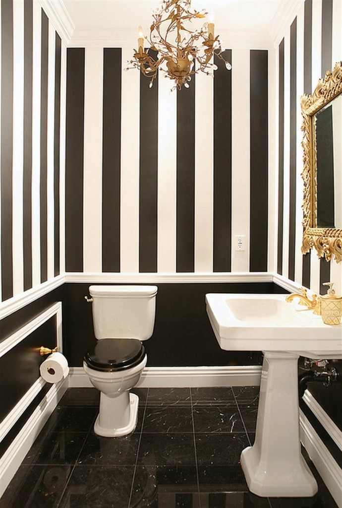 golden-charm-in-black-and-white-bathroom-decor-bring-luxury-feel-to-the-space